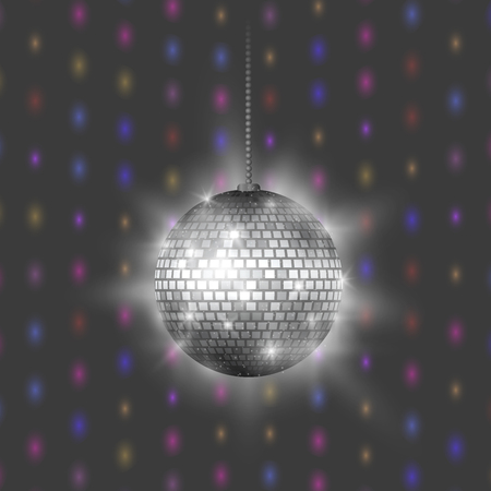 Disco ball discotheque music party night club dance equipment vector illustration.