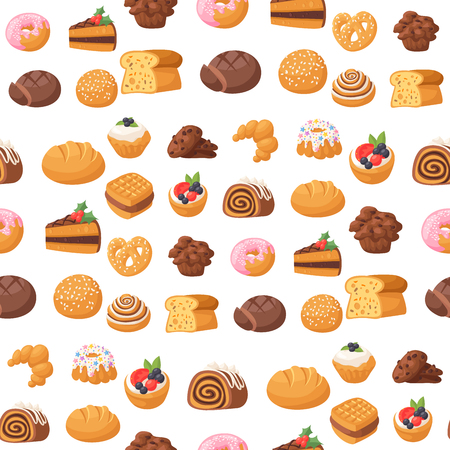 Cookie cakes tasty snack delicious chocolate homemade pastry biscuit sweet dessert bakery food seamless pattern background vector illustration Banco de Imagens