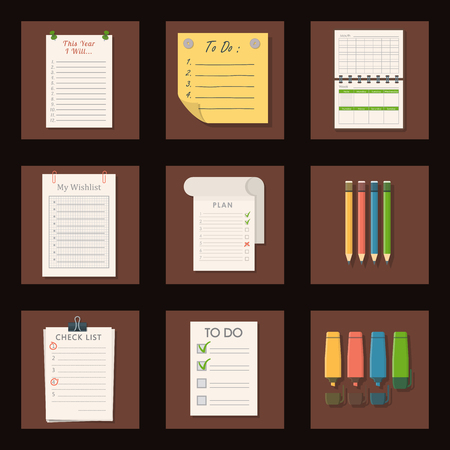 Set of agenda lists vector of paper clipboards