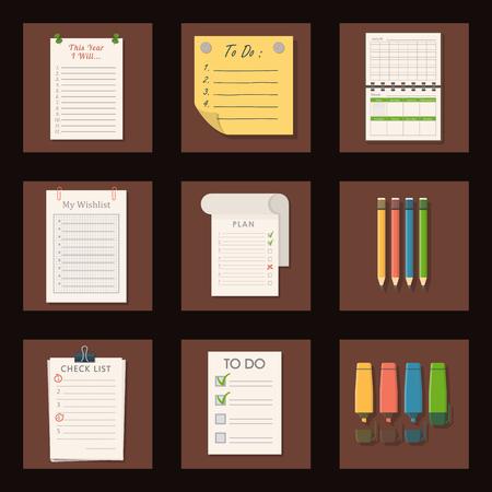 Set of agenda lists vector of paper clipboards
