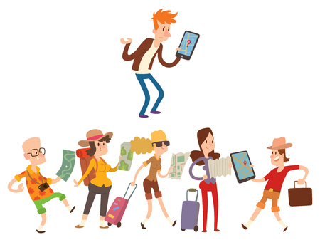 Illustration of traveler people with maps