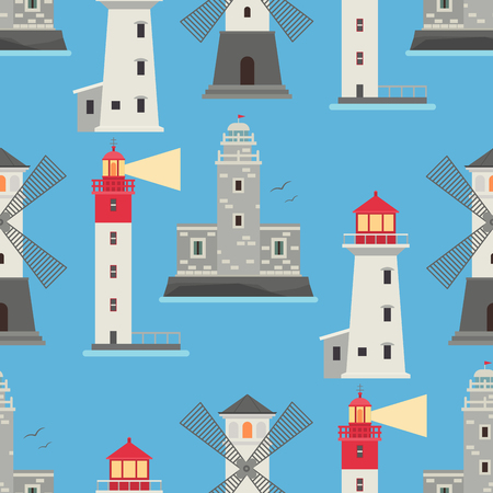 Lighthouses vector flat searchlight towers for maritime navigation guidance ocean beacon light safety security seamless pattern background illustration. Illustration