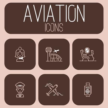 Aviation icons vector set airline outline graphic illustration flight airport transportation passenger design departure.
