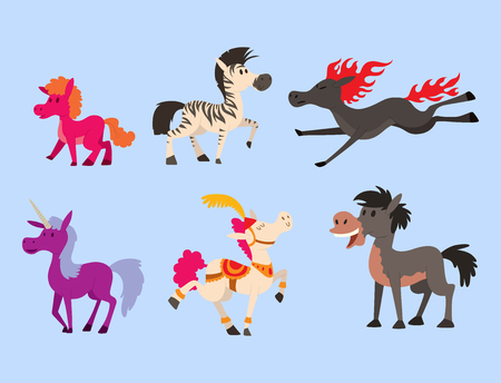 Horse pony stallion vector breeds color farm equestrian mammal domestic animal mane zoo character illustration. Cartoon pet design horseback mare many horse pony style. Illustration