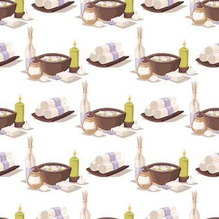 Spa treatment beauty procedures wellness massage herbal cosmetics aroma stones towels and lotus flower seamless pattern background vector illustration. Illustration