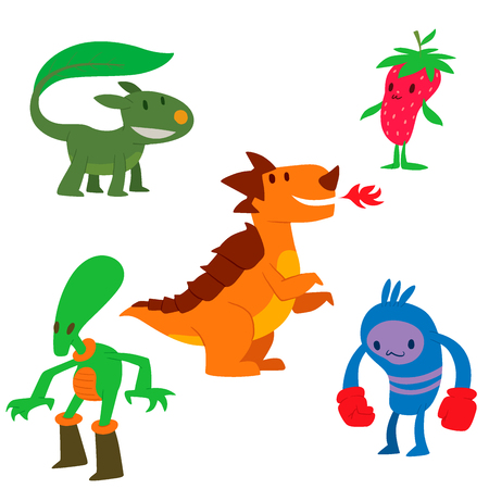 Monster character vector funny design element humor emoticon fantasy monsters unique expression sticker