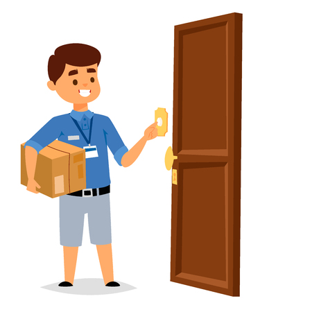 Delivery boy service workers and clients couriers delivering man characters shop mailmen bringing packages holding boxes documents vector illustration. Postman worker male conveyance.