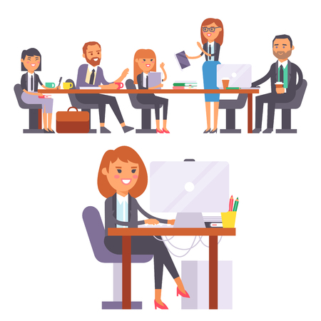Vector flat people work place business worker person working on laptop at the table in office coworker businesswoman and businessman character workplace on computer illustration isolated on background.
