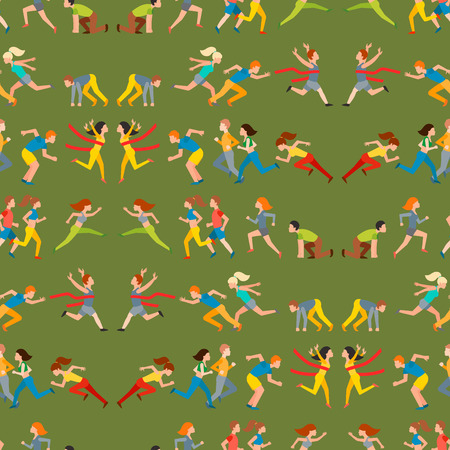 Athletic run man people jogging summer sport enjoying runner exercising their running healthy lifestyle. Young couple group running marathon sprinting vector seamless pattern background.