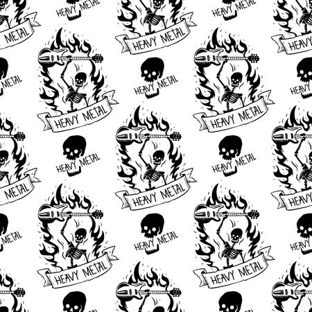 Etiqueta de la vendimia del vector de la insignia de la música de rock pesado con la ilustración del emblema de la etiqueta engomada del sonido duro del fondo del modelo inconsútil del cráneo punk