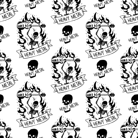 Heavy rock music badge vector vintage label with punk skull seamless pattern background hard sound sticker emblem illustration Vectores