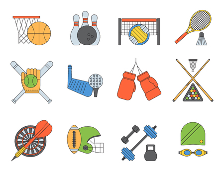 Set of sport vector icons in flat design line pictogram fitness sportsmen symbol game trophy competition dumbbell activity illustration. Basketball, football, hockey, golf Stock Photo