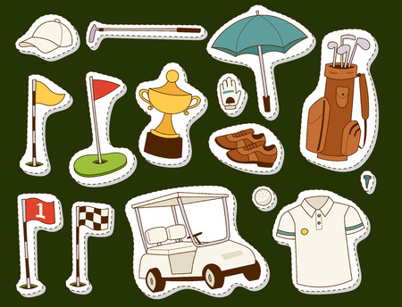 Golf elements sticker icons,