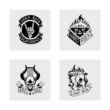 Set of heavy rock music badge illustration 일러스트