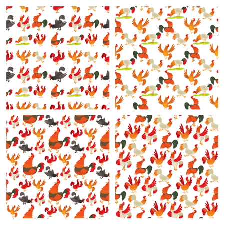 Cute cartoon rooster seamless pattern background Иллюстрация