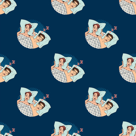 Woman covering ears while man snoring in bed at home sleep problem seamless pattern background vector.