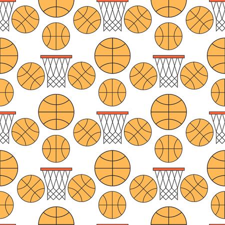Orange basketball ball seamless pattern background vector illustration. Vectores