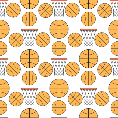 Orange basketball ball seamless pattern background vector illustration. Illustration