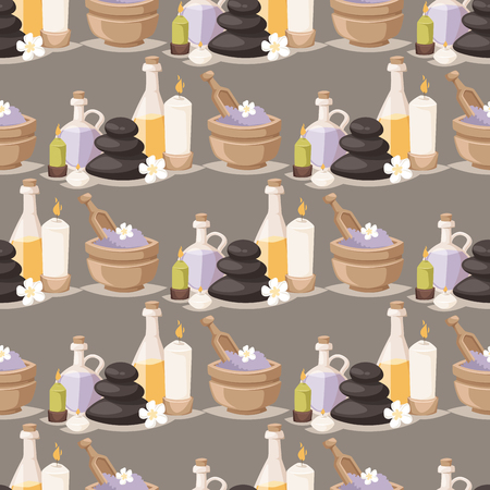 Spa treatment beauty procedures wellness massage herbal cosmetics aroma stones towels and lotus flower seamless pattern background vector illustration. Relaxation health herbal elements. 向量圖像