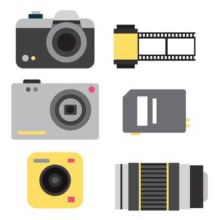 Camera photo studio optic lenses types objective retro photography equipment professional photographer look vector illustration. Digital vintage technology electronic aperture device.