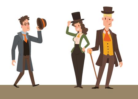 Vintage victorian cartoon styled old people illustration.
