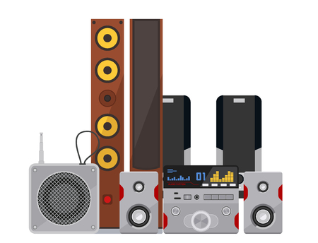 Acoustic sound system stereo flat vector music loudspeakers player receiver subwoofer remote equipment technology illustration. Professional media acoustic system entertainment tool. Ilustrace