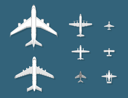 Airplane vector illustration plane top view passenger trip and aircraft transportation travel way to vacation sky design journey international plane . Commercial tour speed aviation. Ilustrace