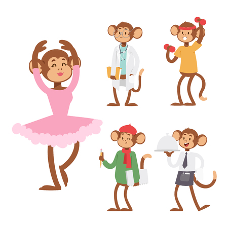 Monkeys rare animal vector cartoon macaque like people nature primate character wild zoo ape chimpanzee illustration. Banque d'images - 100838444