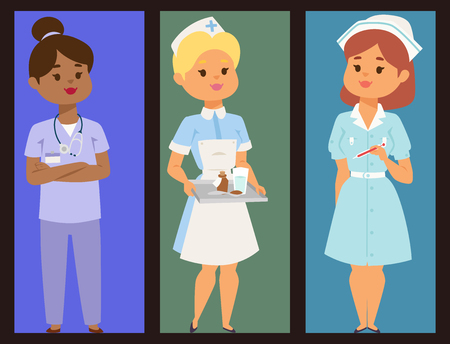 Doctor nurse character vector brochure medical woman staff flat design hospital team people doctorate illustration.