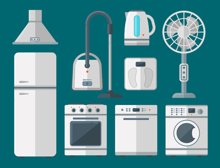 Home appliances vector domestic household equipment kitchen electrical domestic technology for homework tools illustration. Cleaning laundry home appliances household equipment.