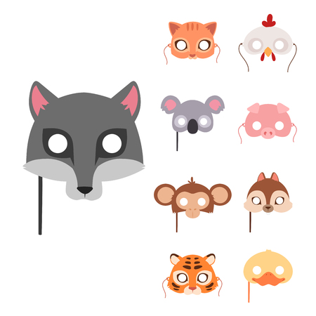 Animals carnival mask vector festival decoration masquerade and party costume cute cartoon head decor celebration vector illustration. Traditional fantasy drawing wild character carnival animal mask.