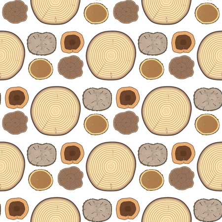 Tree wood trunk slice texture circle cut wooden raw material vector detail plant years history textured rough forest tree top seamless pattern background. 向量圖像