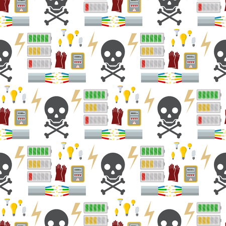 Energy electricity power battery vector illustration industrial electrician voltage socket technology seamless pattern background.