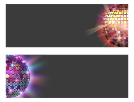 Disco ball discotheque card music party night club dance equipment vector illustration.