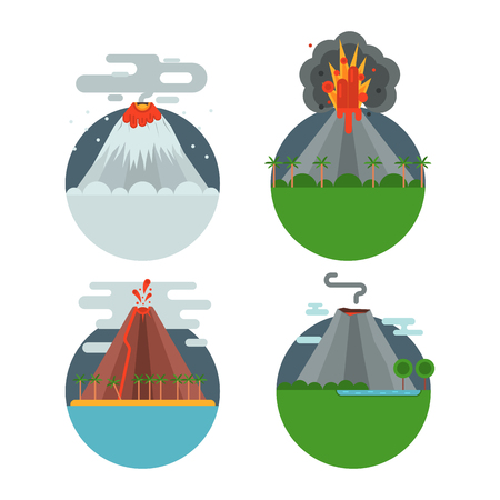 Volcano magma vector nature blowing up with smoke crater volcanic mountain hot natural eruption earthquake illustration. Banco de Imagens