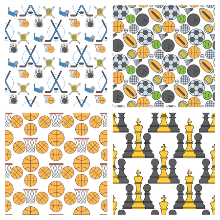 Sport icons seamless pattern background in flat design line pictogram fitness symbol game trophy competition dumbbell activity vector illustration.
