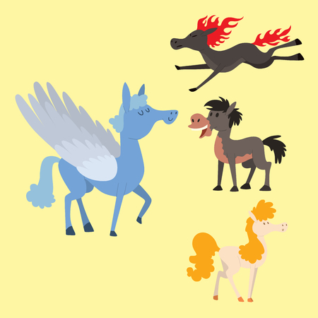 Horse pony stallion vector breeds color farm equestrian mammal domestic animal mane zoo character illustration. Banque d'images - 100985055
