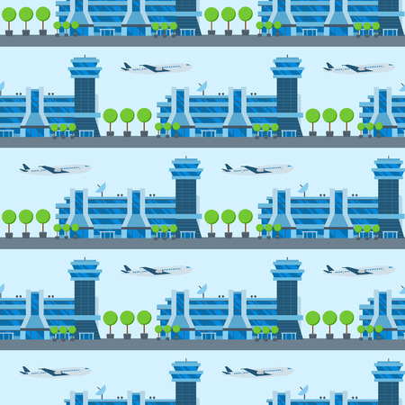 Airplane seamless pattern background vector illustration top view plane and aircraft transportation travel way design journey object. Illustration