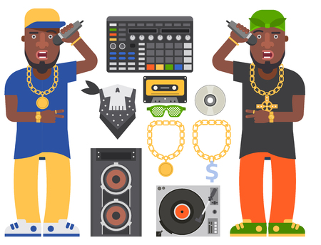 Hip hop man accessory musician vector accessories microphone breakdance expressive rap modern young fashion person adult people illustration.  イラスト・ベクター素材