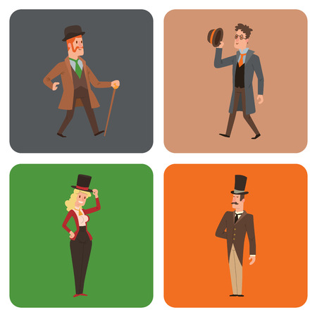 Vintage victorian cartoon gents retro people vector. Style fashion old people victorian gentleman clothing antique century character victorian gent people vintage wild west man and woman style.