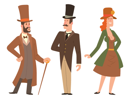 Vintage victorian cartoon gents retro people vector. Style fashion old people victorian gentleman clothing antique century character victorian gent people vintage wild west man and woman style Foto de archivo - 100953588