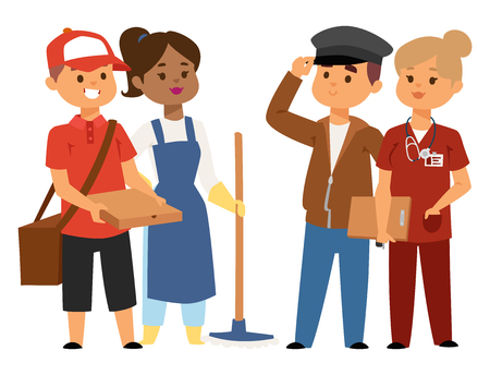People part-time job professions vector set characters temporary job recruitment concept. Different workers or time unemployed. Young career start boys and girls part time workers opportunity looking. Stockfoto - 100934045