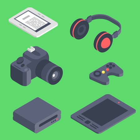 Isometric vector gadget computer devices icons wireless technologies mobile communication 3d illustration. Digital electronic technology isomerical tools technology Illustration