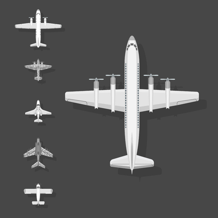 Airplane vector illustration plane top view passenger trip and aircraft transportation travel way to vacation sky design journey international plane . Commercial tour speed aviation. 일러스트