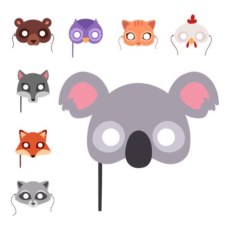 Animals carnival mask, vector festival decoration. Masquerade and party costume, cute cartoon head decor celebration illustration. Ilustração