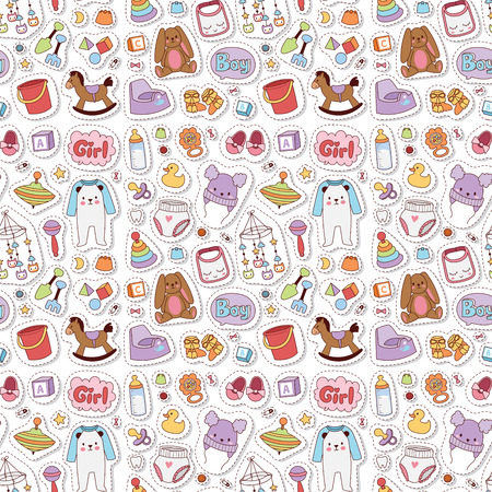 Baby toys icons cartoon family kid toy shop design. Cute boy and girl childhood art diaper, love rattle seamless pattern background.  イラスト・ベクター素材