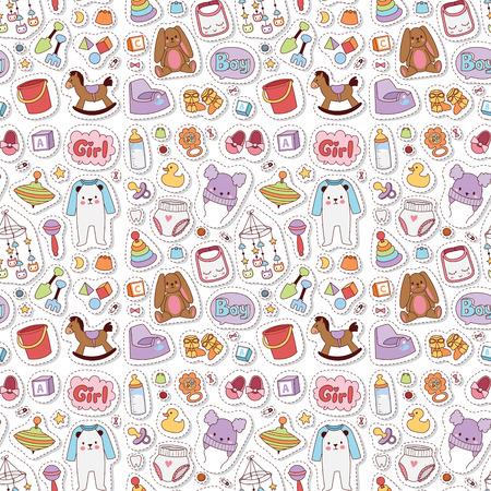 Baby Spielzeug Ikonen Cartoon Familie Kind Spielzeug Shop Design. Nette Jungen- und Mädchenkindheitskunstwindel, Liebesrassel nahtloser Musterhintergrund. Vektorgrafik
