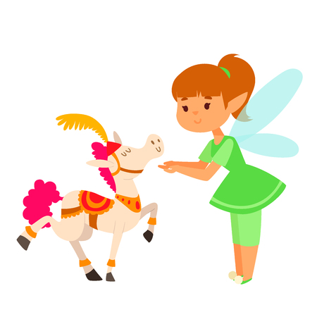 Fairy princess girl vector character. Cute beautiful style. Cartoon little fairyland fashion costume magic fantasy dress, fairy tale crown kid. Happy sweet fairy teenage with wings. Illustration