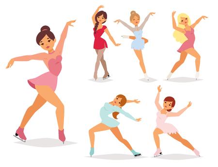 Figura patinador de hielo, vector de dibujos animados truco figura mujeres belleza deporte chicas haciendo ejercicio y trucos saltando. Bailarina de personajes de patinaje sobre hielo, figurista patina ilustración de rendimiento de niñas.