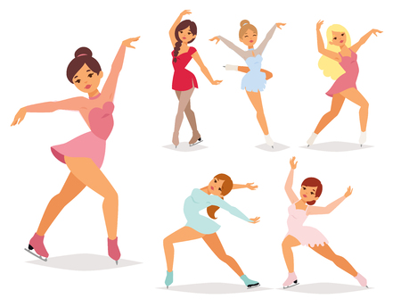 Figure ice skater, vector cartoon trick figure women beauty sport girls doing exercise and tricks jumping. Ice skater characters dancer, figurist skates girls performance illustration.